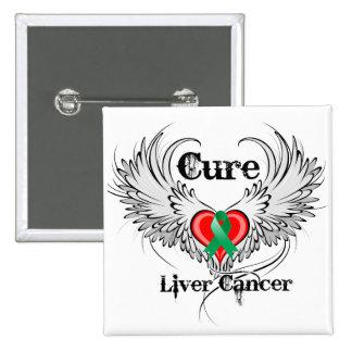 Alas del tatuaje del corazón del cáncer de hígado  chapa cuadrada 5 cm