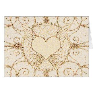 Alas y corazón del ángel tarjeta de felicitación
