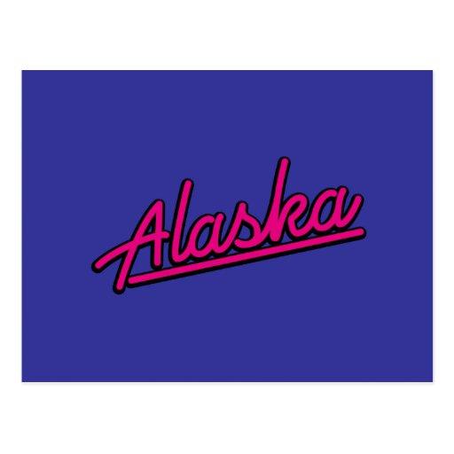 Alaska en magenta postal