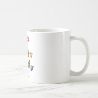Alazán de madera colorido bordado tazas de café
