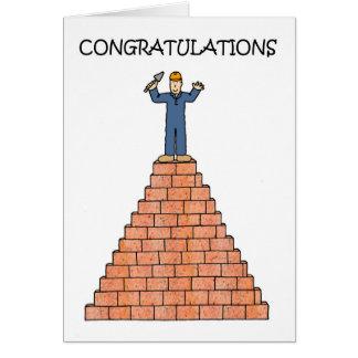Albañil certificado autorizado tarjeta de felicitación