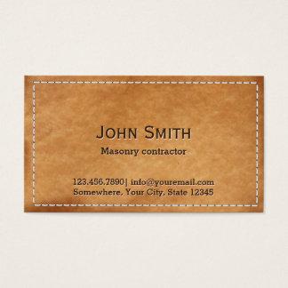 Albañilería de cuero cosida vintage tarjeta de negocios