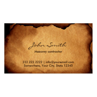 Albañilería de papel quemada vieja del vintage plantillas de tarjetas de visita