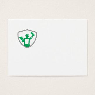 Albañilería del yesero que lleva a cabo el escudo tarjeta de visita