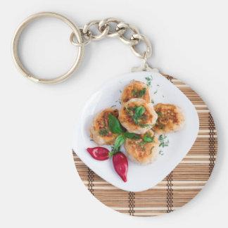 Albóndigas del pollo picadito con la pimienta roja llavero redondo tipo chapa