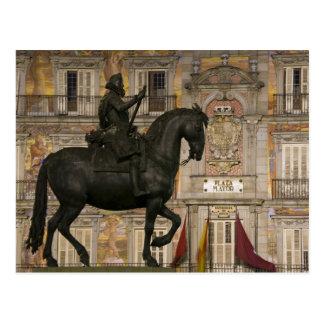 Alcalde de la plaza con la estatua de Felipe III, Postal
