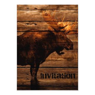alces de madera apenados outdoorsman del toro de invitación 12,7 x 17,8 cm