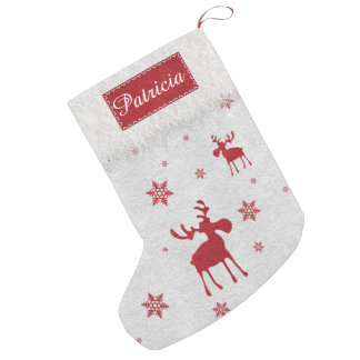 Alces rojos y almacenamiento rojo del navidad de calcetín de navidad pequeño