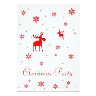 Alces rojos y copos de nieve rojos - fiesta de invitación 12,7 x 17,8 cm
