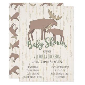 Alces y fiesta de bienvenida al bebé rústicos del invitación 11,4 x 15,8 cm