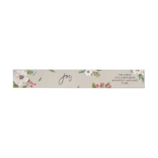 Alegría a la etiqueta de color topo floral del etiquetas envolventes de remitente