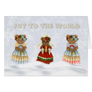 Alegría a los osos del ángel del canto del mundo tarjeta de felicitación