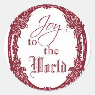 Alegría a los pegatinas del navidad del mundo, pegatina redonda