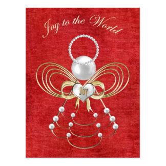 Alegría al mundo - ángel de la alegría - rojo postales