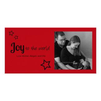 Alegría al mundo - navidad simplemente moderno del tarjeta con foto personalizada