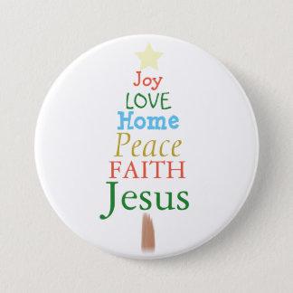 Alegría, amor, Jesús, botón del árbol de navidad