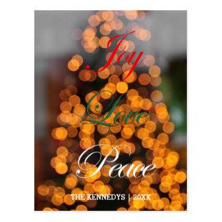 Alegría, amor, paz - extracto de luces en árbol postal