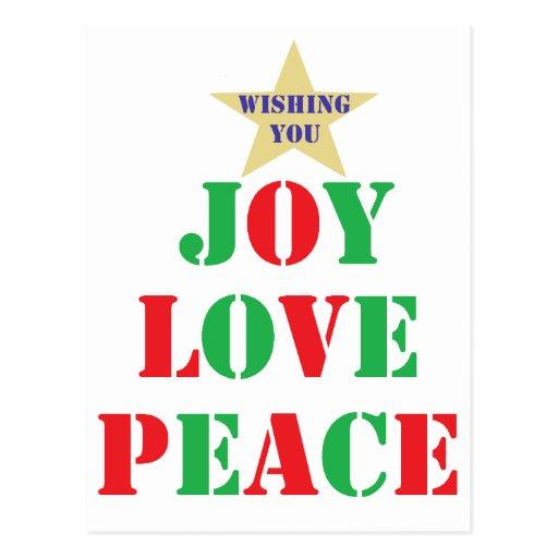 Alegría, amor, paz tarjetas postales