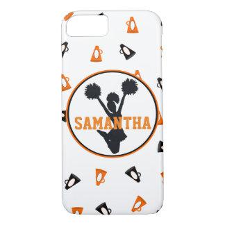 Alegría anaranjada y negra de los megáfonos funda iPhone 7