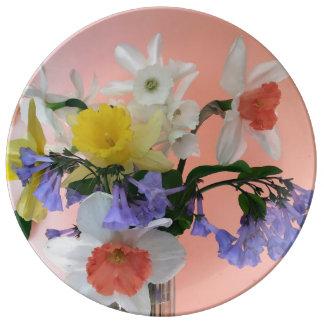Alegría de la primavera plato de porcelana