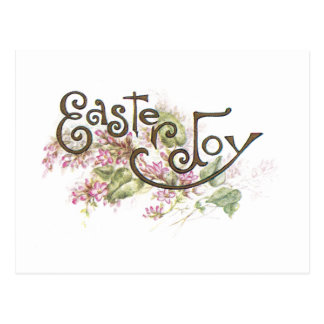 Alegría de Pascua y flores rosadas Postales