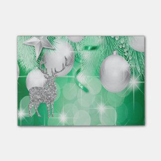 Alegría de plata del reno de Bokeh de las bolas Notas Post-it®