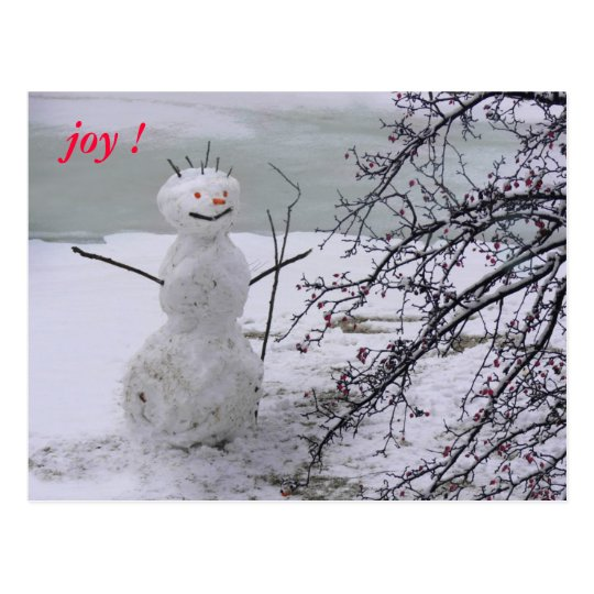 alegría del muñeco de nieve postal
