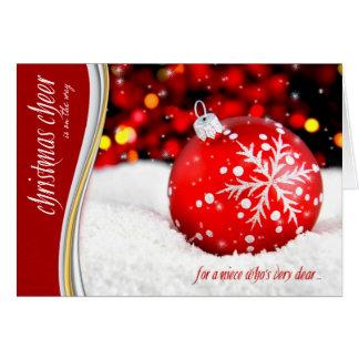Alegría del navidad de la sobrina - ornamento rojo tarjeta de felicitación
