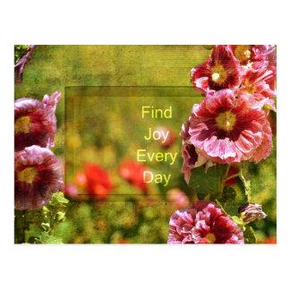 Alegría floral del Hollyhock del jardín Tarjetas Postales