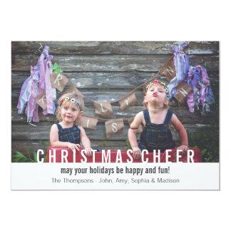 Alegría moderna del navidad de la tarjeta de la invitación 12,7 x 17,8 cm