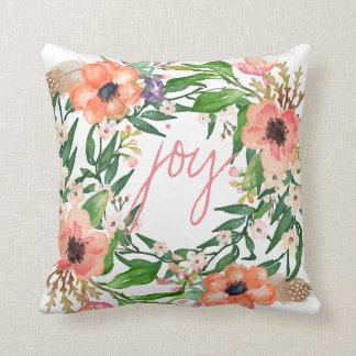 Alegría, monograma floral de la guirnalda de la cojín decorativo