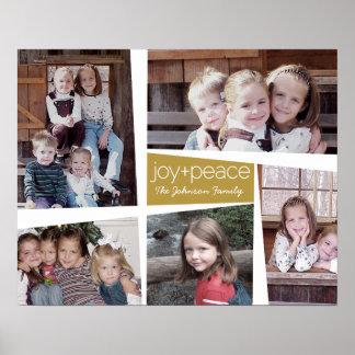 Alegría y paz retras - oro del collage del día de poster
