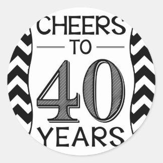 Alegrías a 40 años pegatina redonda