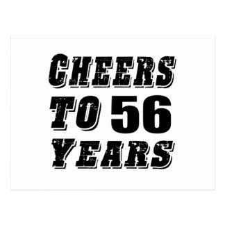Alegrías a 56 años de cumpleaños postal