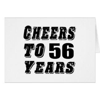 Alegrías a 56 años de cumpleaños tarjeta de felicitación