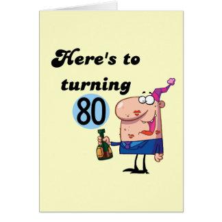 Alegrías a 80 camisetas y regalos del cumpleaños tarjetón