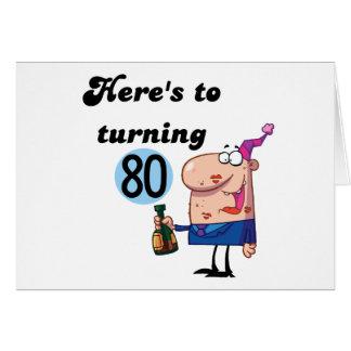 Alegrías a 80 camisetas y regalos del cumpleaños tarjeta de felicitación