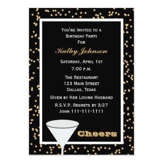 Alegrías adultas del negro y del oro de la fiesta invitación 12,7 x 17,8 cm