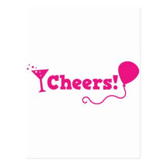 ¡Alegrías! con el globo del fiesta y el vidrio de Postal