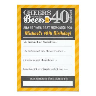 Alegrías y cervezas a 40 años • Comparta una Invitación 12,7 X 17,8 Cm