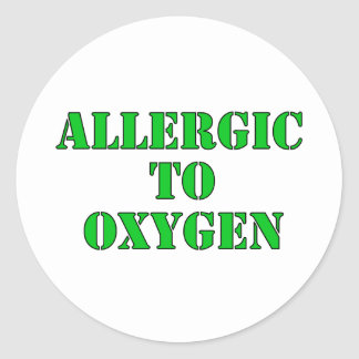 Alérgico al oxígeno etiqueta redonda