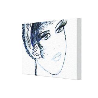 Aleta de lujo en azules y negro impresión en lienzo