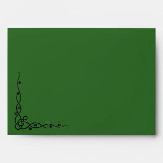 Aleta delantera e interior verde oscuro del sobre,