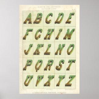 Alfabeto (Cartas broncean, imaginación, inclinadas Póster