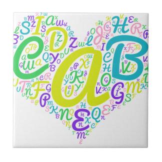 alfabeto del amor azulejo de cerámica