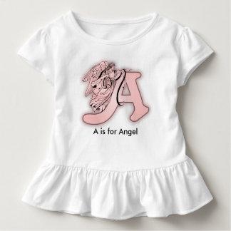 Alfabeto del ángel un monograma inicial camiseta de bebé