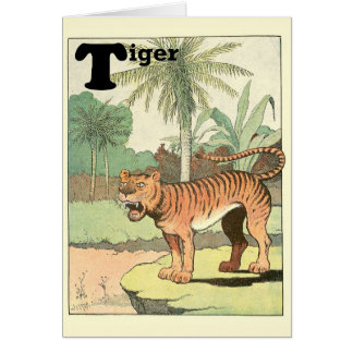 Alfabeto del animal del tigre tarjeta de felicitación