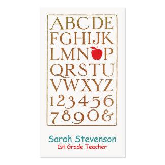 Alfabeto del vintage del profesor de escuela tarjetas de visita