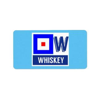 """Alfabeto náutico W """"whisky """" de la bandera de la Etiqueta De Dirección"""