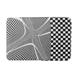 Alfombrilla De Baño alfombra de baño a cuadros blanco y negro del